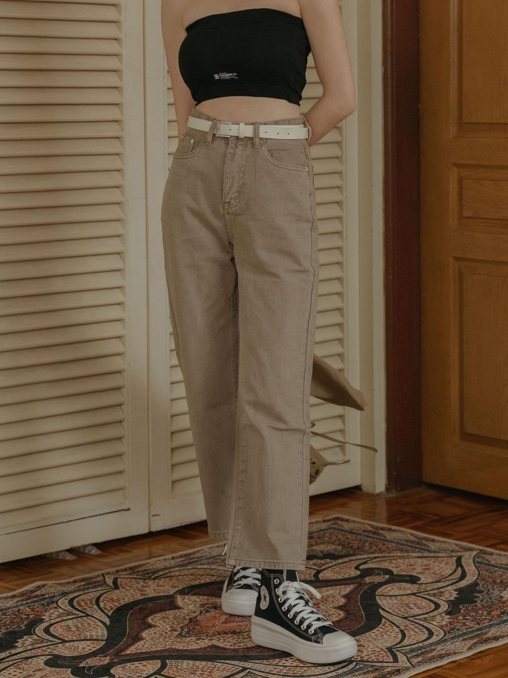 韓系寬版直筒褲(附皮帶)