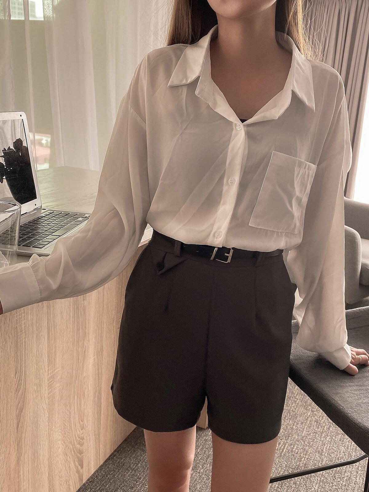 大口袋落肩襯衫 / 3 colors