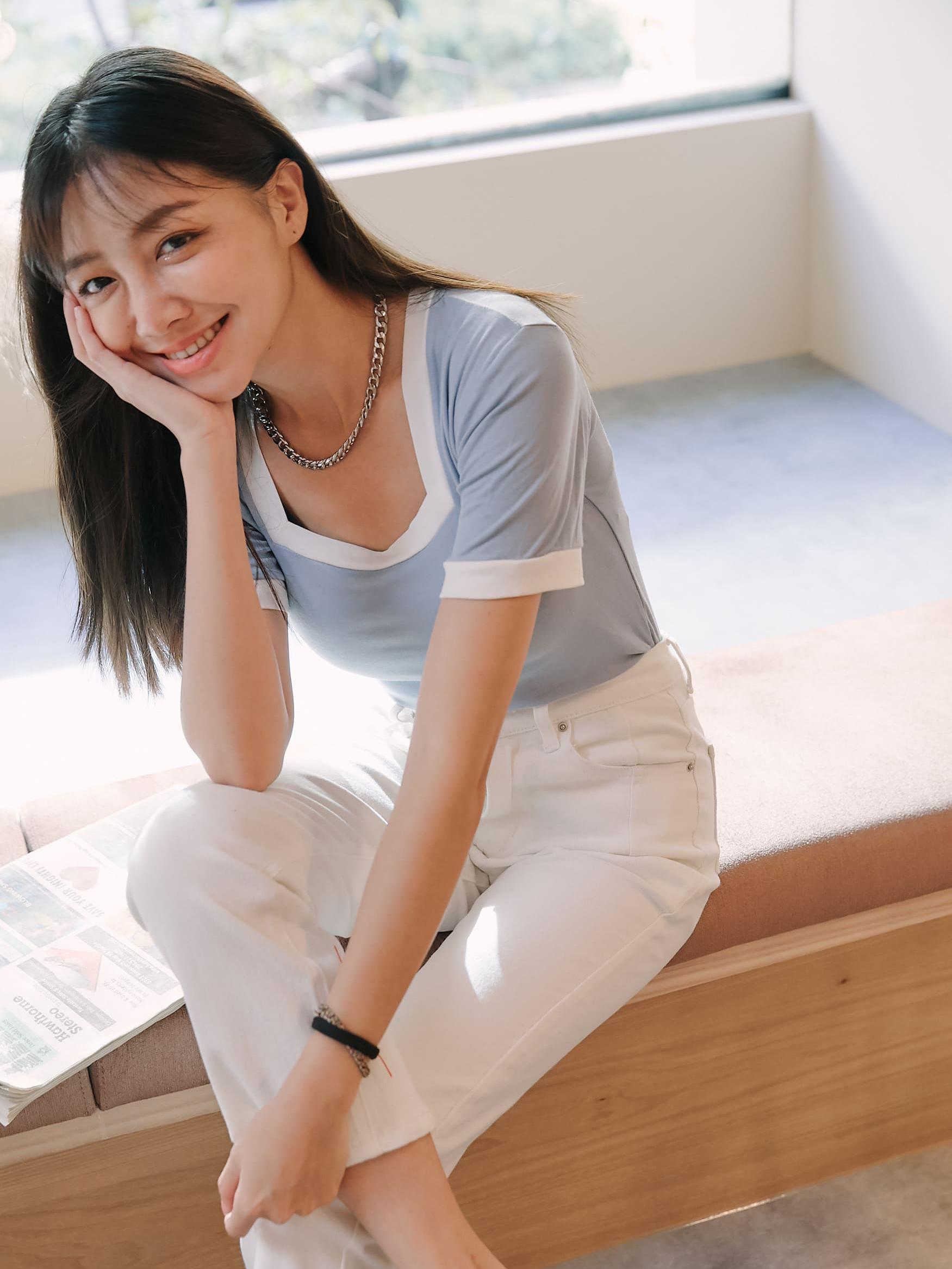 自訂款-白邊方領彈性棉上衣