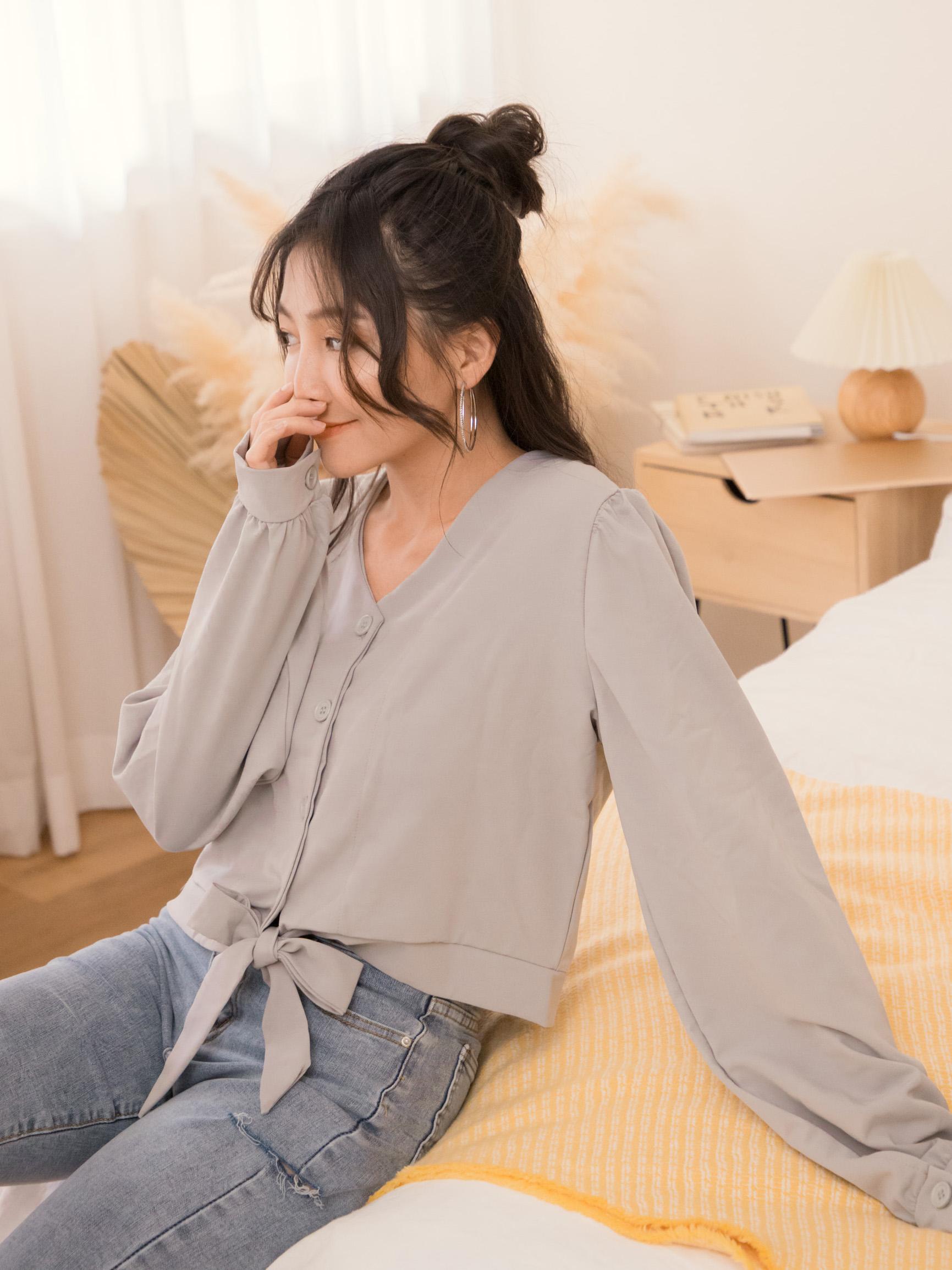自訂款-小造型綁帶襯衫上衣/罩衫