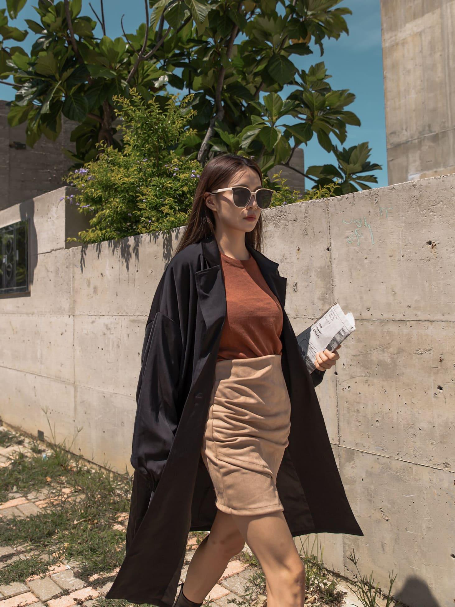 時尚單釦長大衣