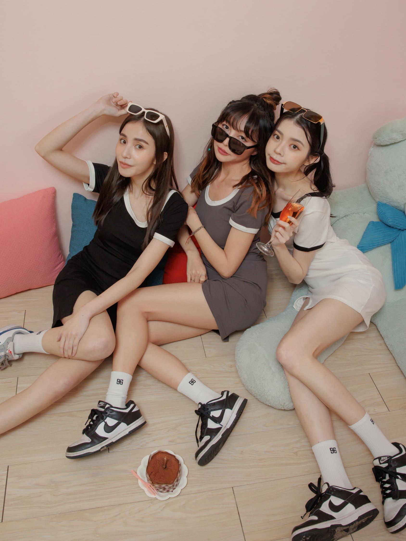 自訂款-滾邊單開衩設計連身裙