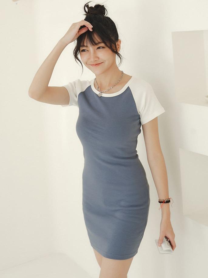 自訂款-拼色棉質連身裙