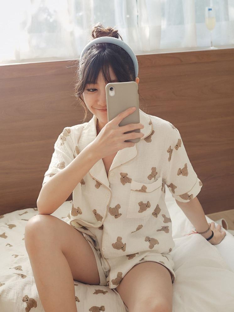 泡泡棉小熊睡衣套裝 (上衣+短褲)