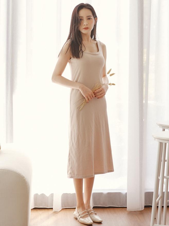 自訂款-滑棉方領Bra 連身裙(罩杯可拆)