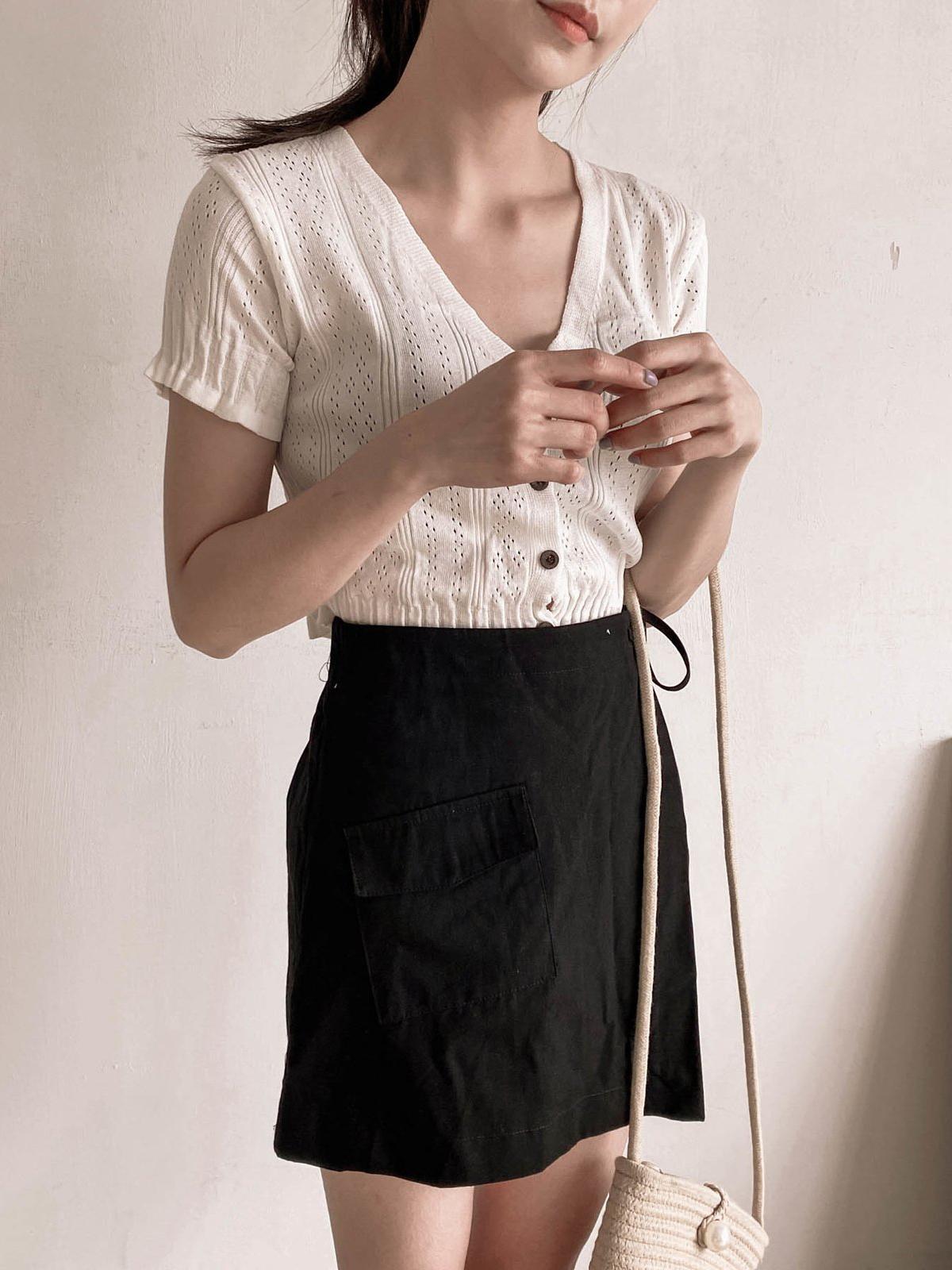 口袋一片裙綁帶短褲 / 3 colors