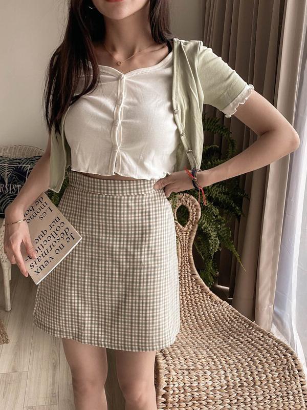 清新小格短裙 / 2 colors