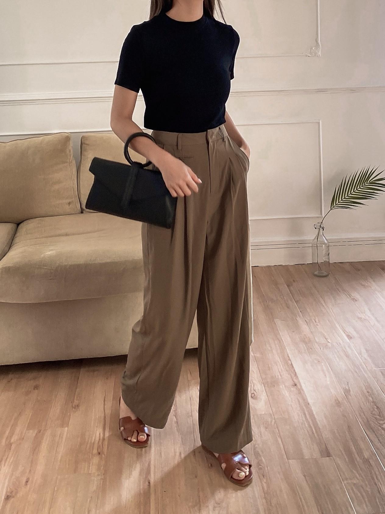 小口袋造型西裝寬版褲 / 2 colors