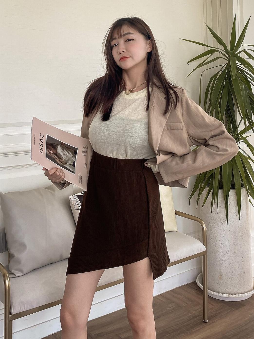 不對稱羅紋鬆緊短裙 / 3 colors