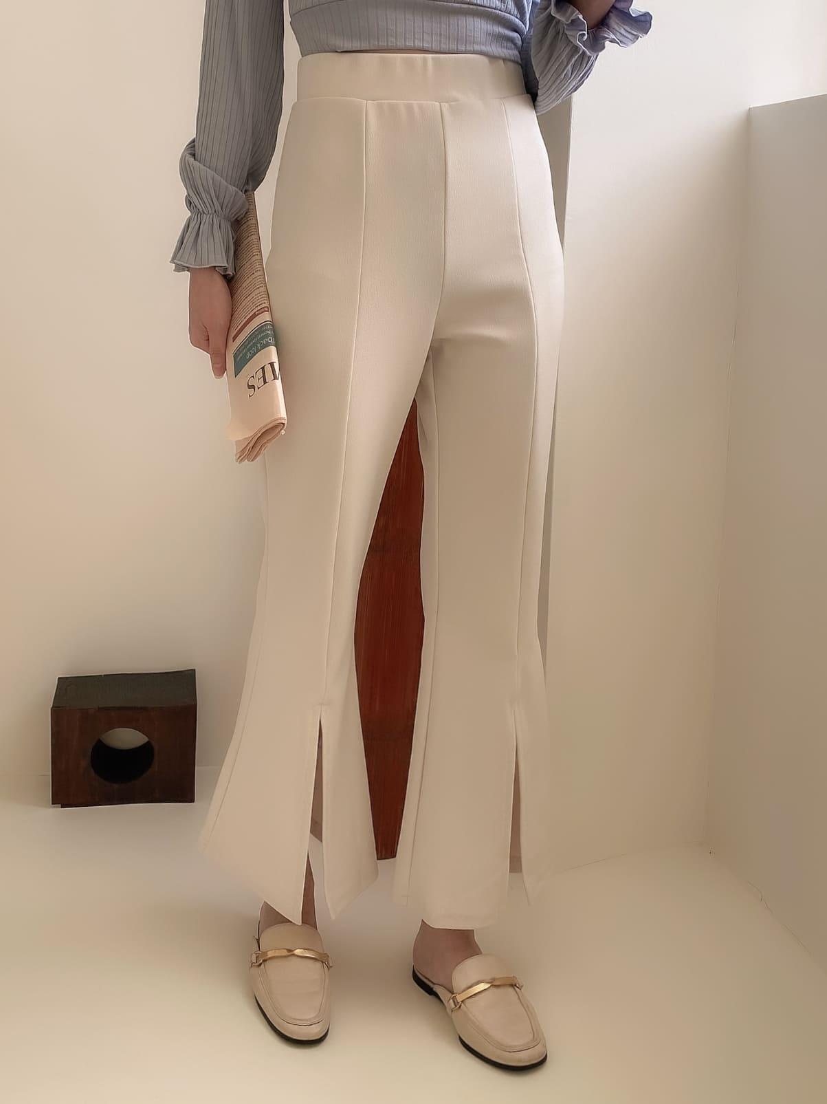 自訂款-彈性線條開衩喇叭褲