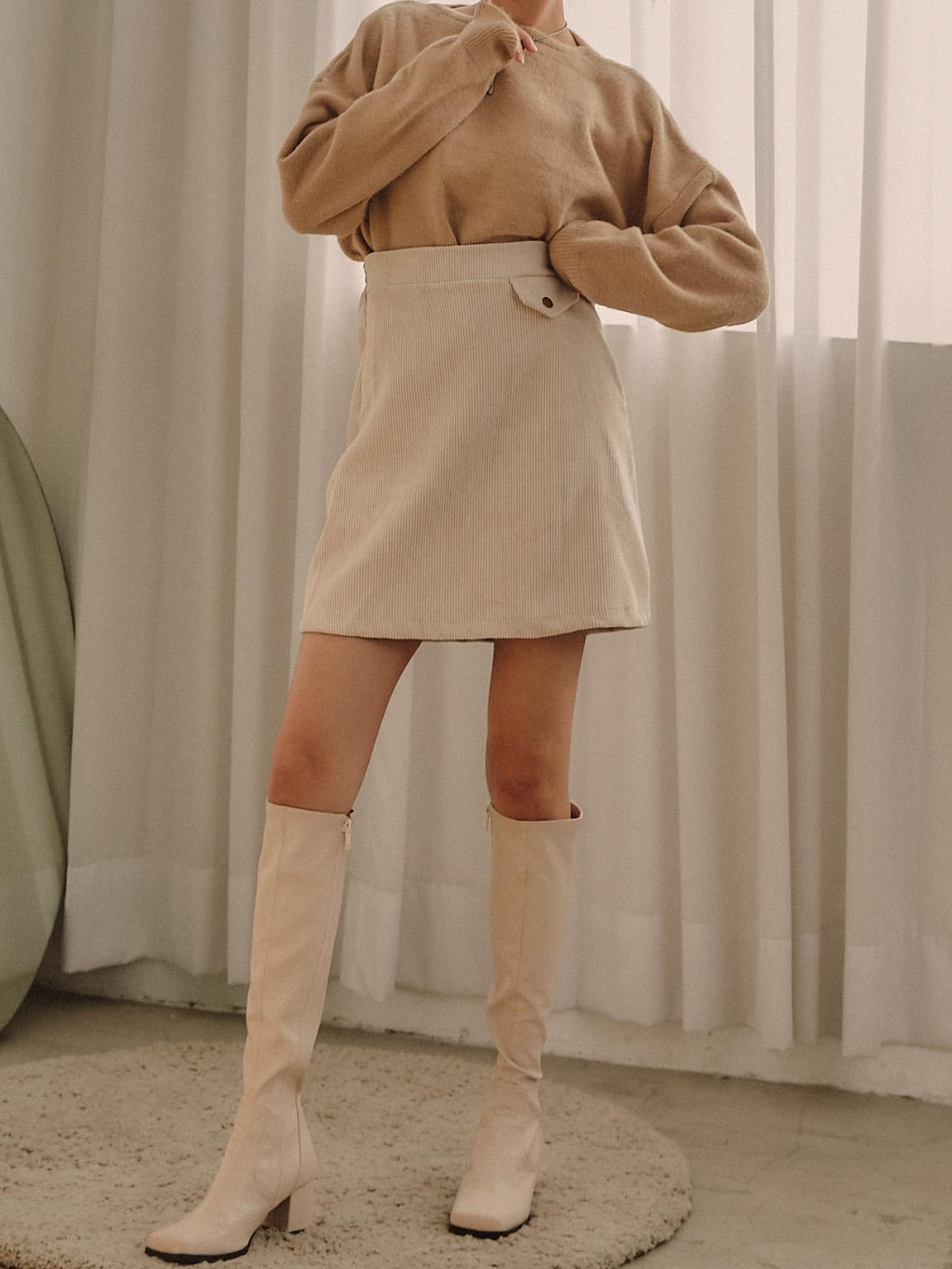 燈芯絨假口袋短裙