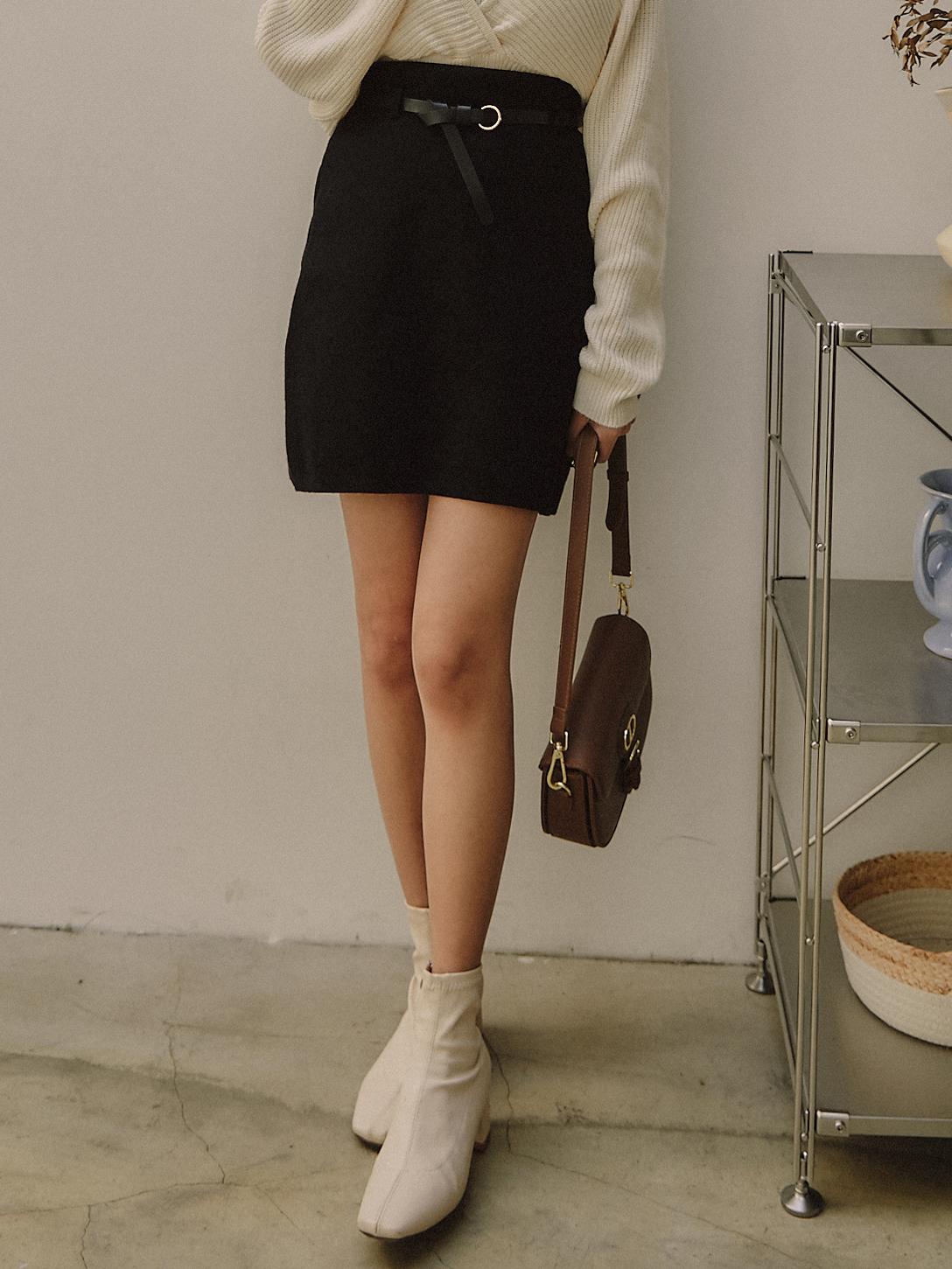 厚針織腰帶短裙(附皮帶)