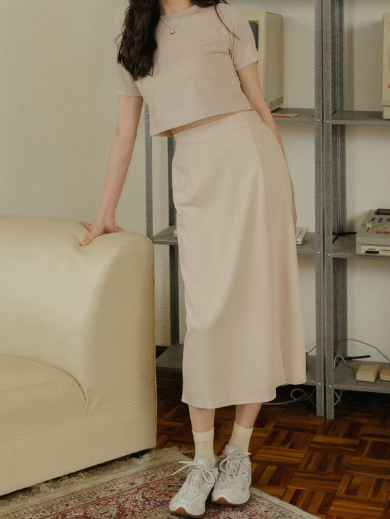 厚棉修身中長裙