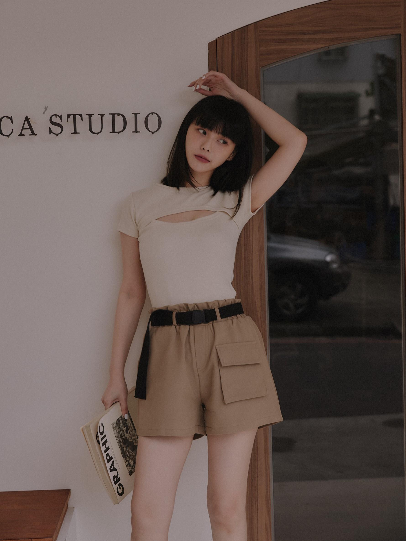 時尚口袋短褲(附皮帶)