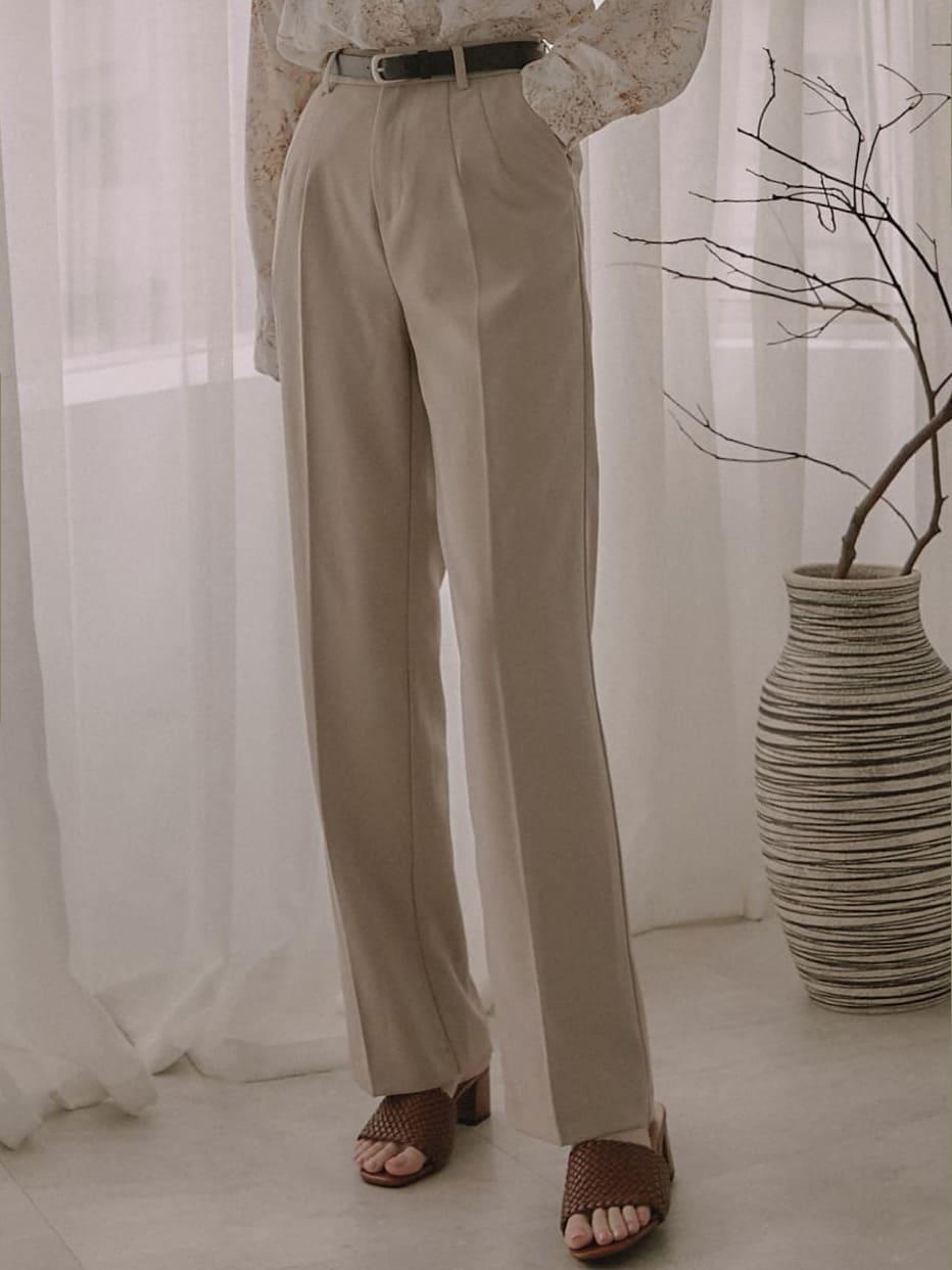 隱藏釦粗皮帶西裝長褲