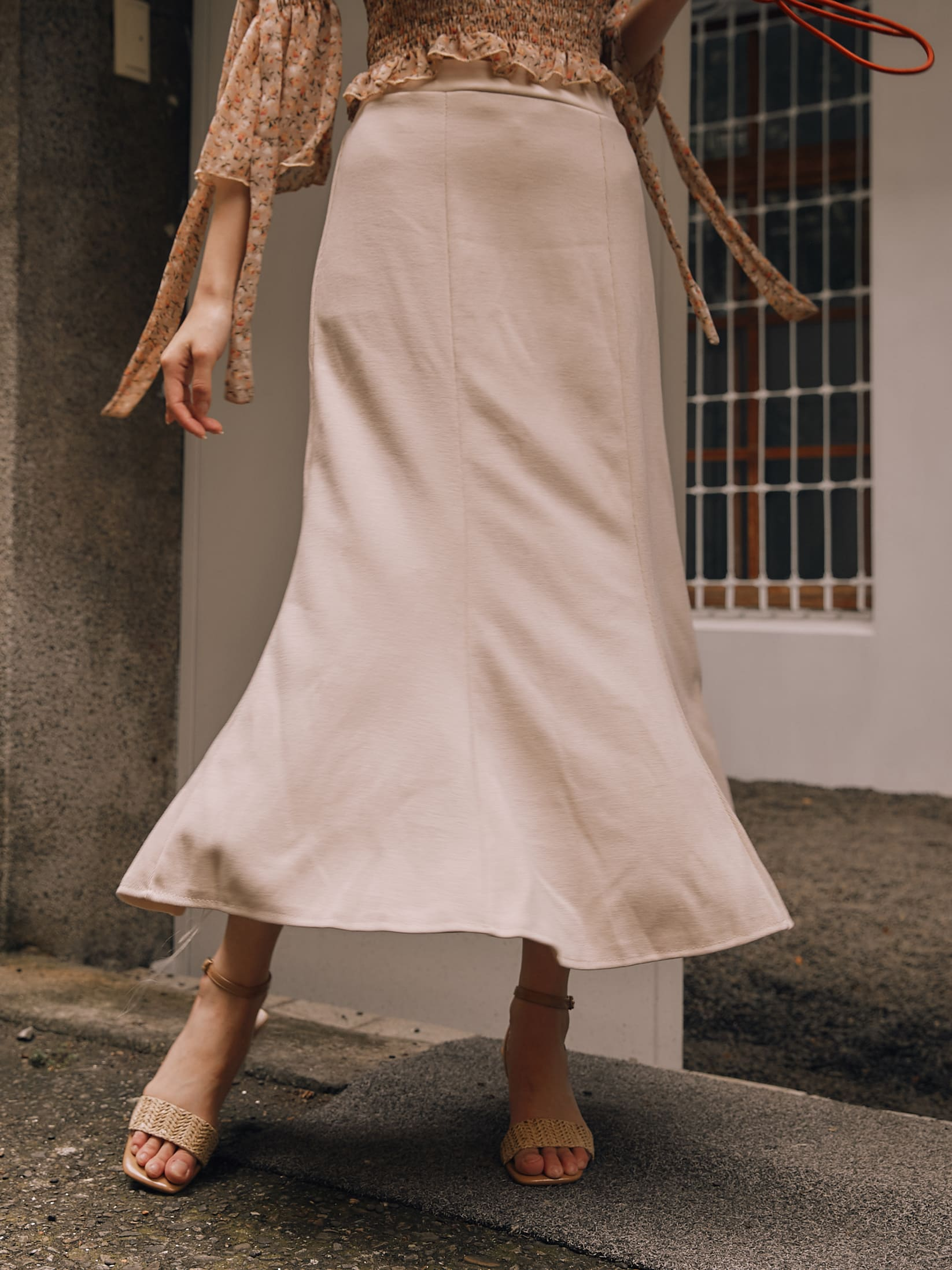 棉質魚尾擺中長裙