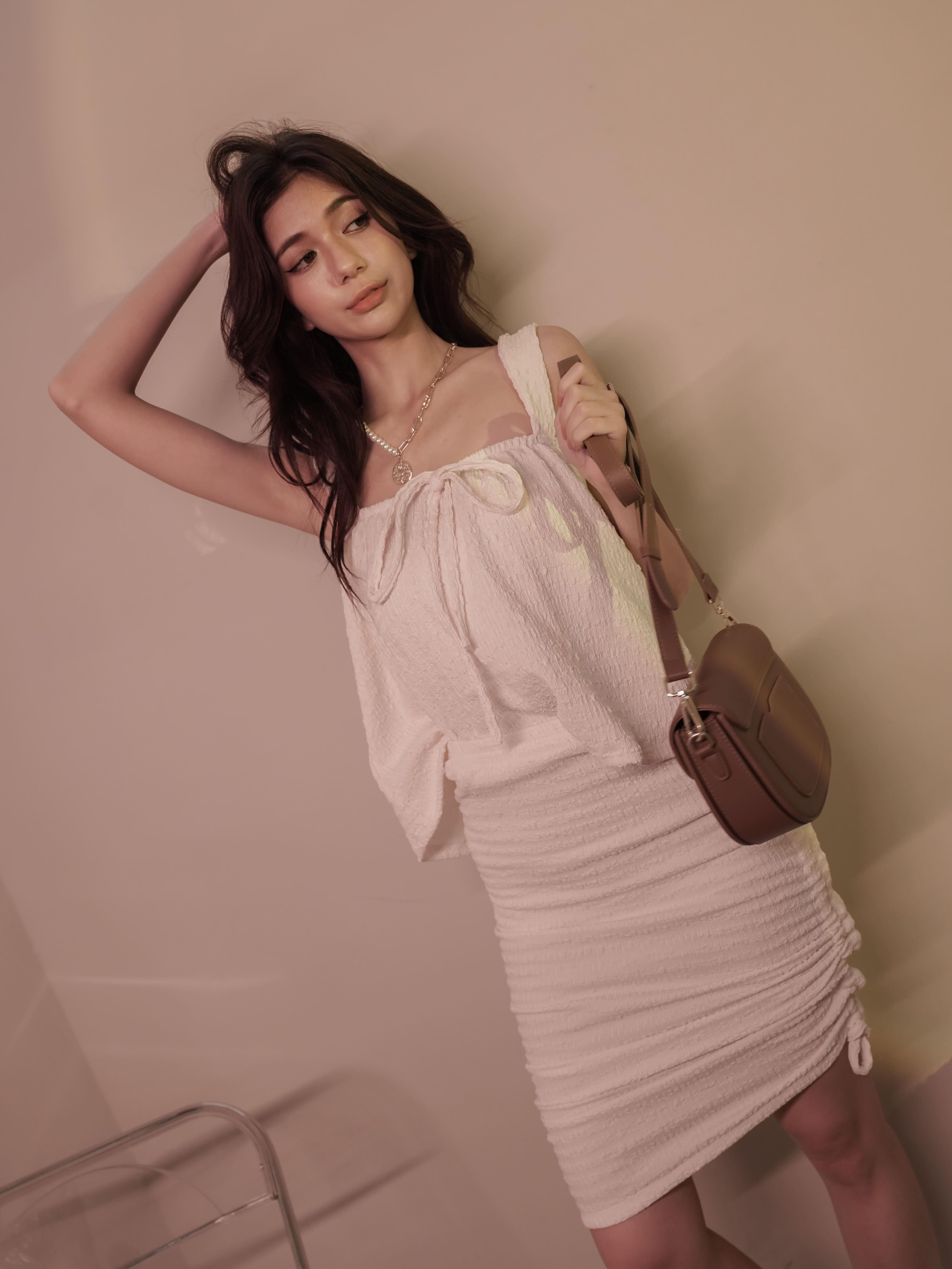 自訂款-皺褶波紋抽繩裙