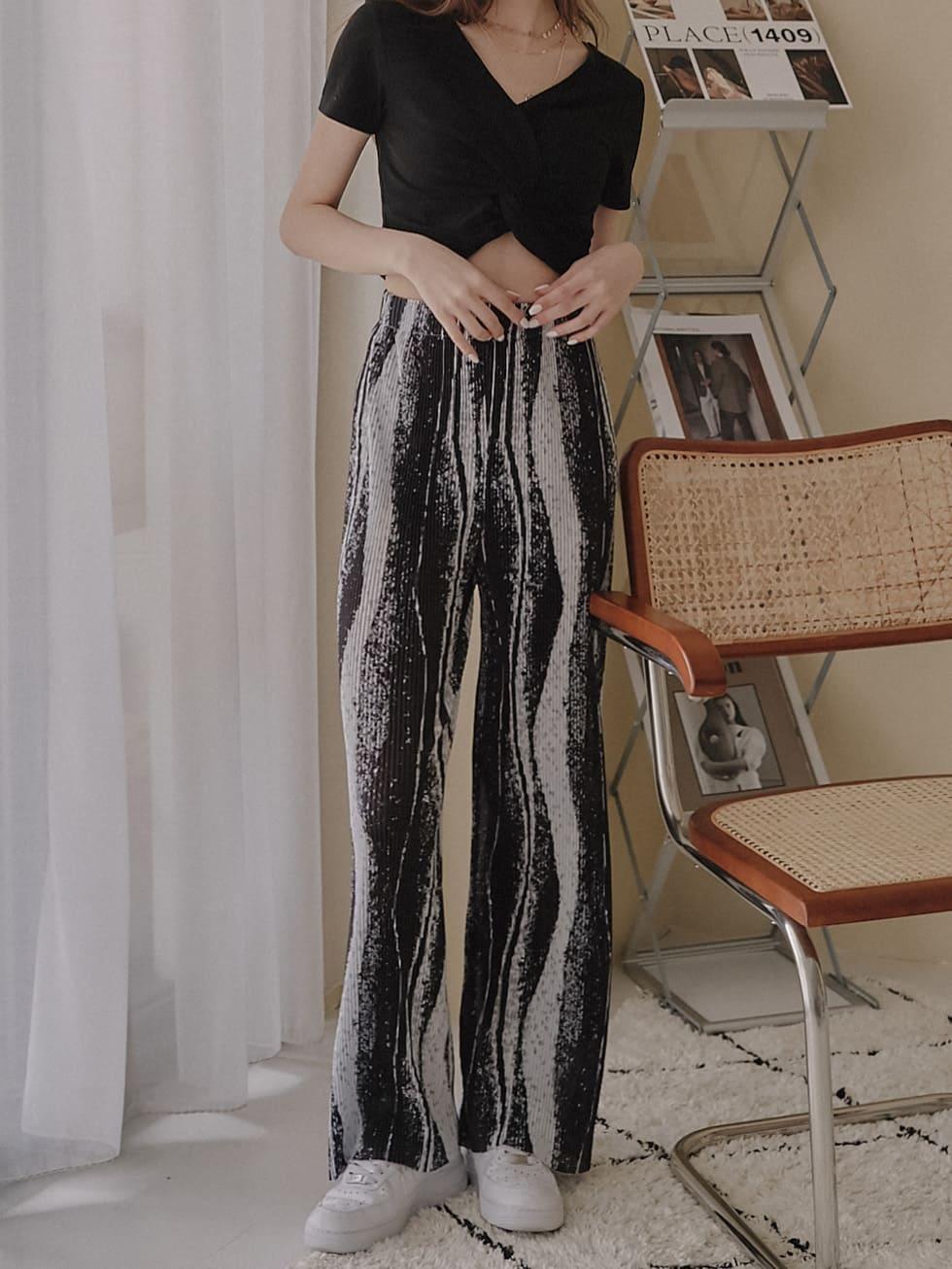 水墨波紋寬褲