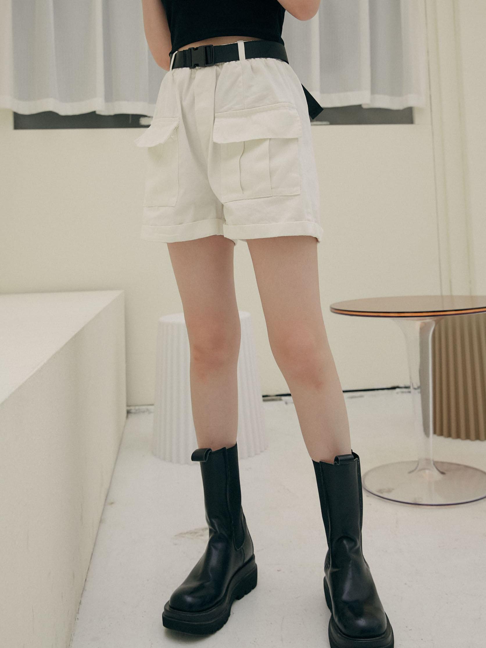 俏皮工裝短褲(附腰帶)