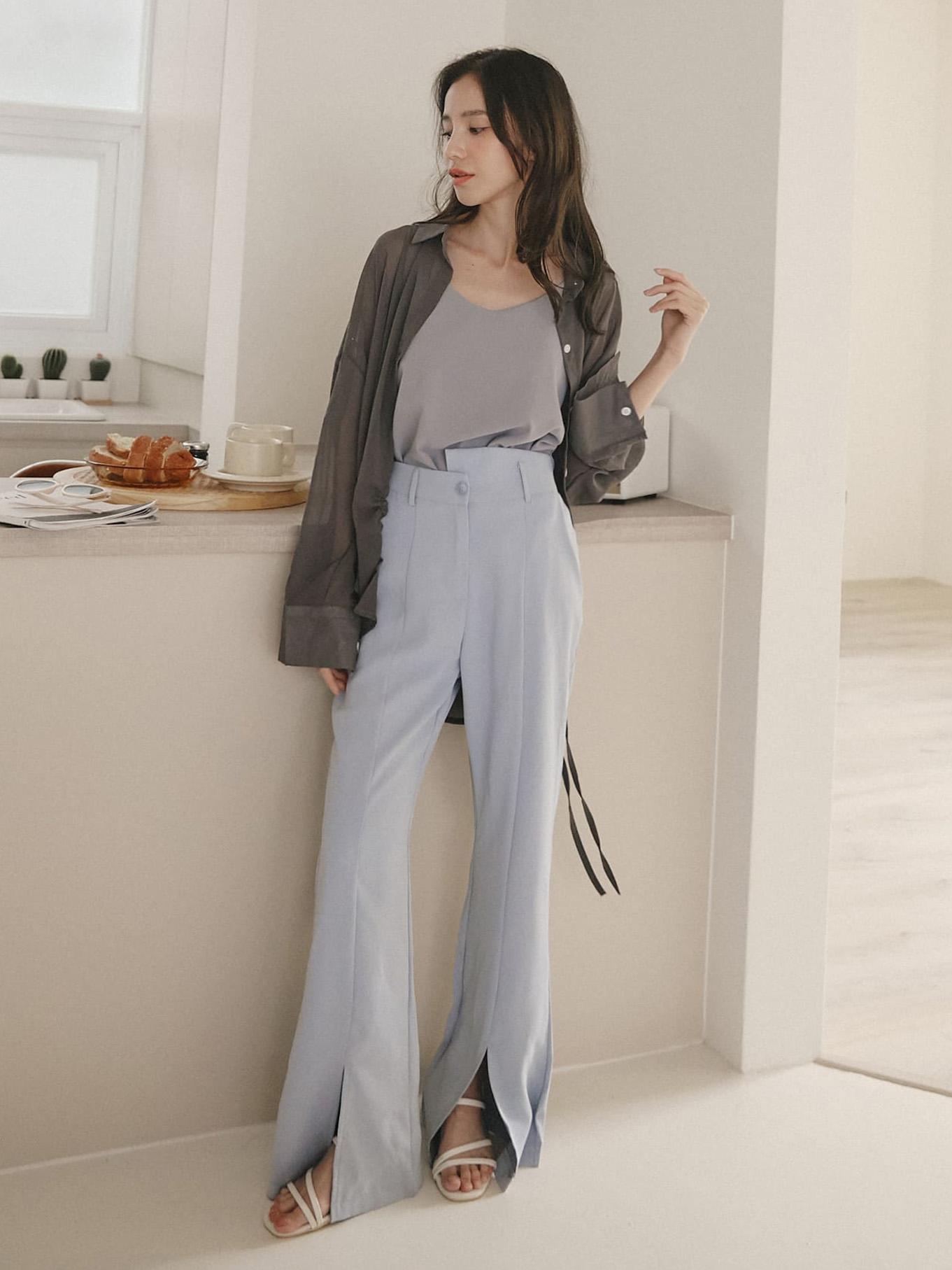 不對稱設計西裝長褲