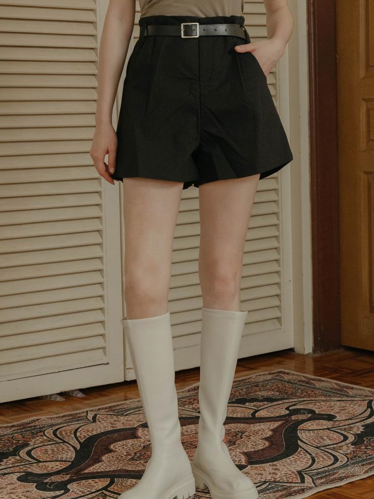 簡單時尚麻質短褲(附皮帶)