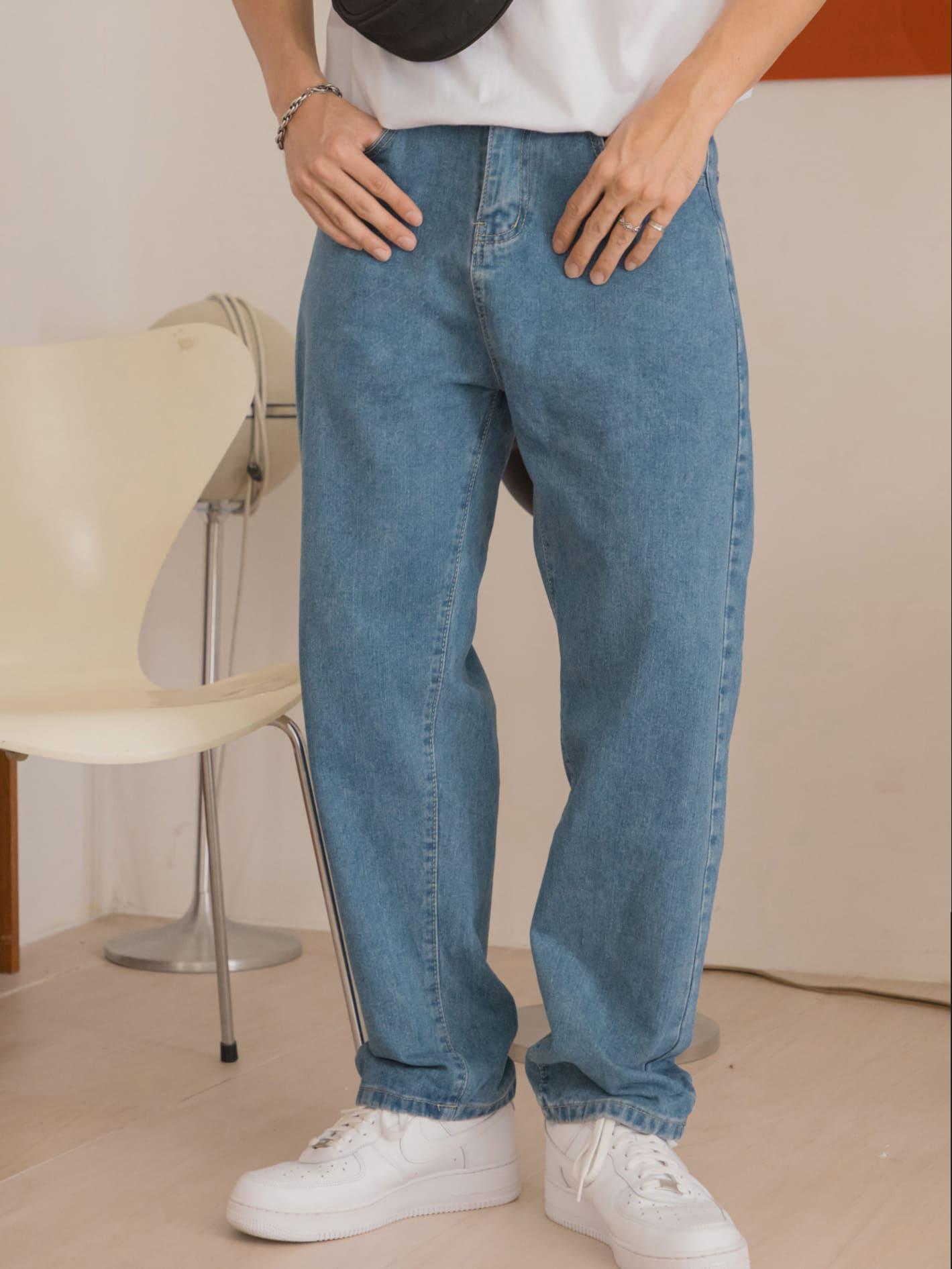 簡單素面寬版牛仔褲