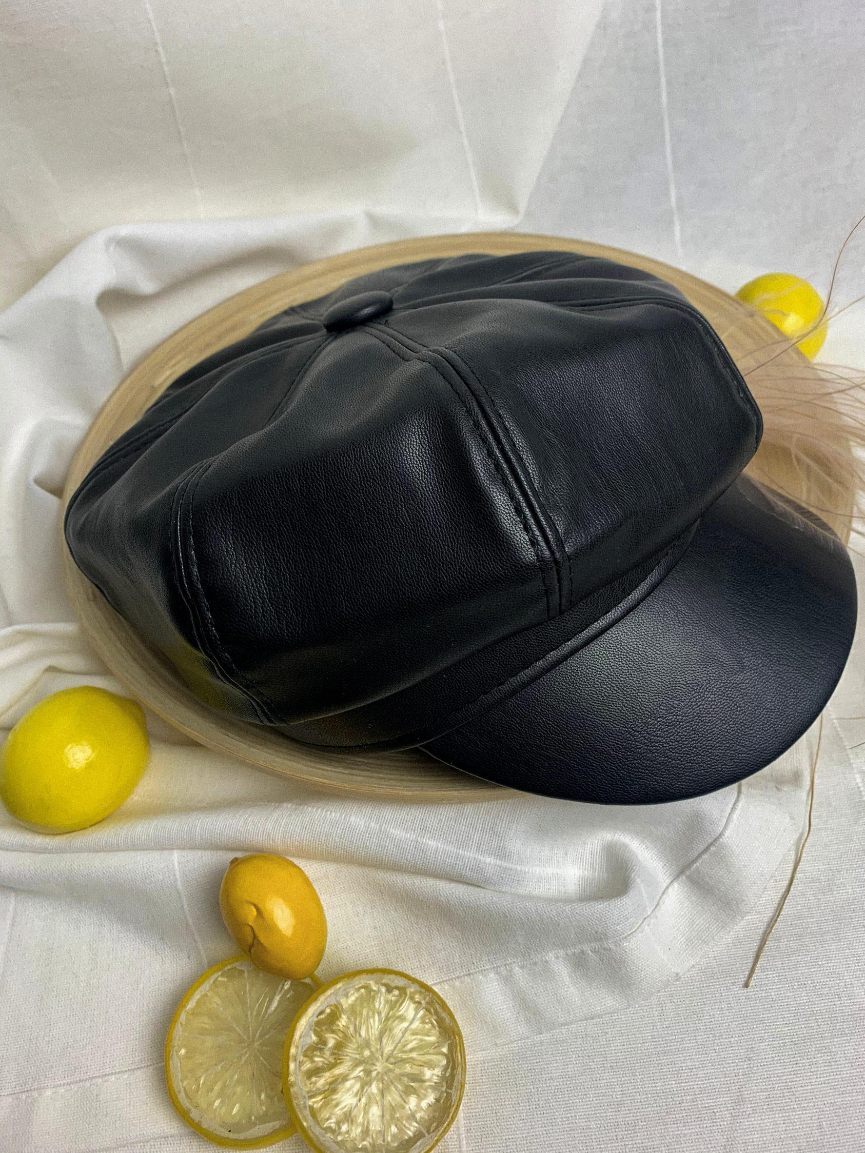 簡約皮革報童帽