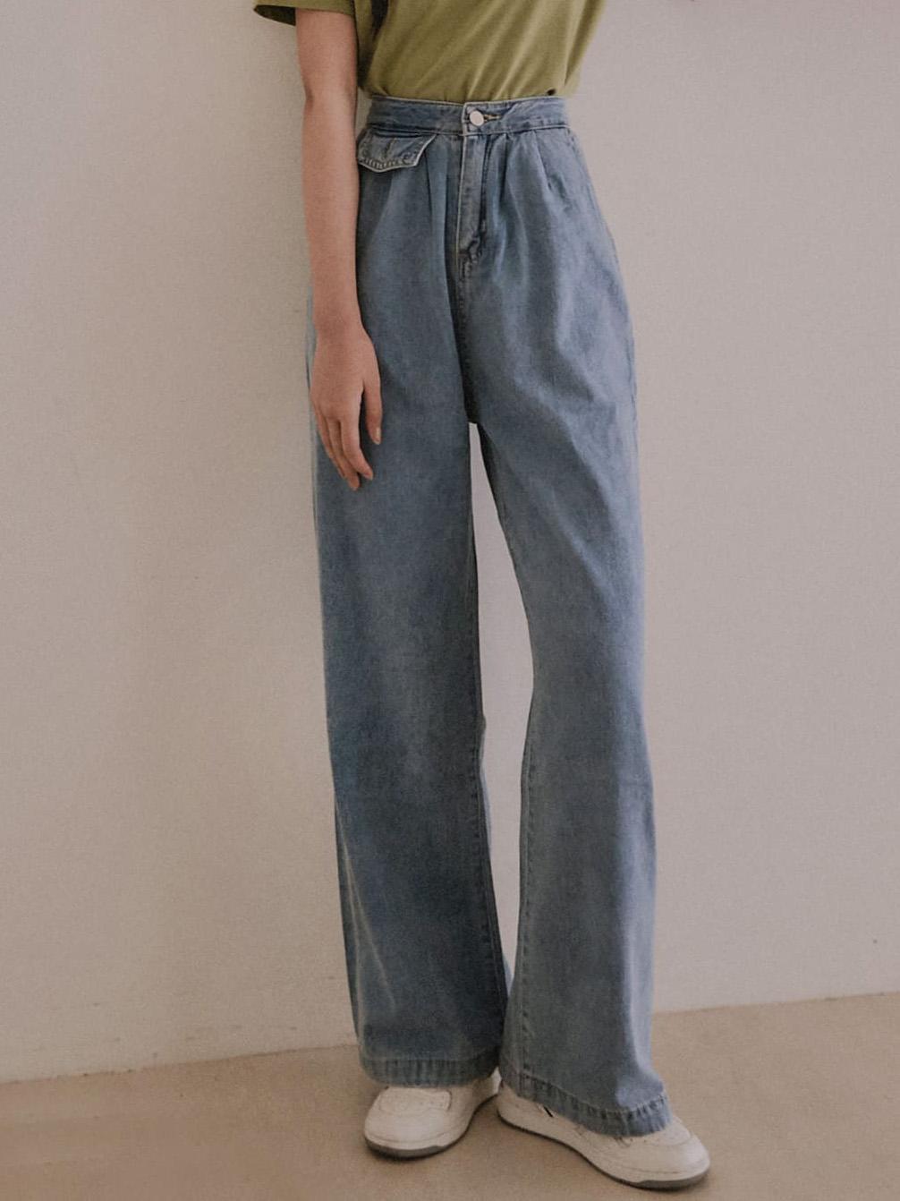 假小口袋設計牛仔寬褲 / 2 colors
