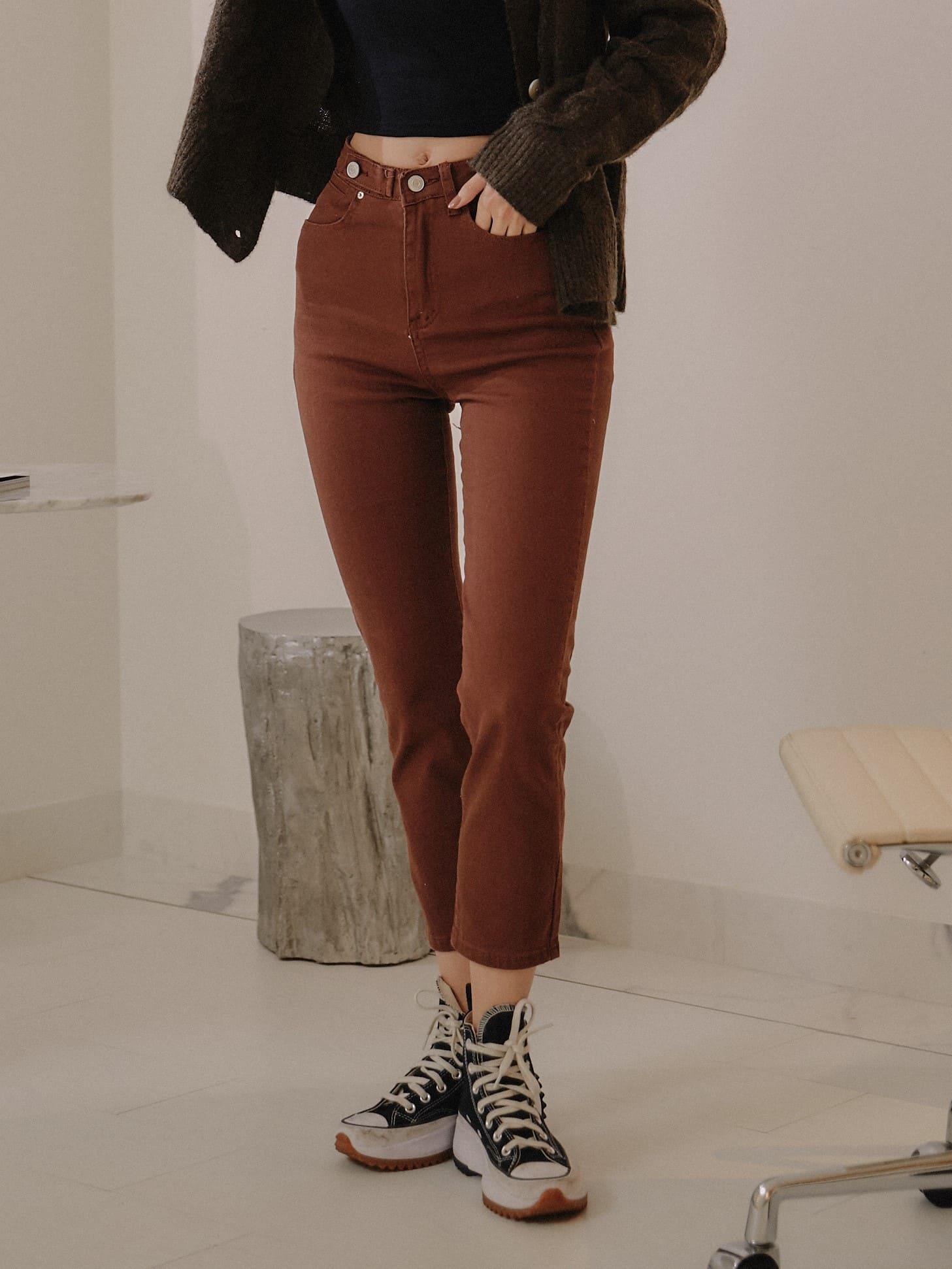 換個顏色穿搭直筒牛仔褲