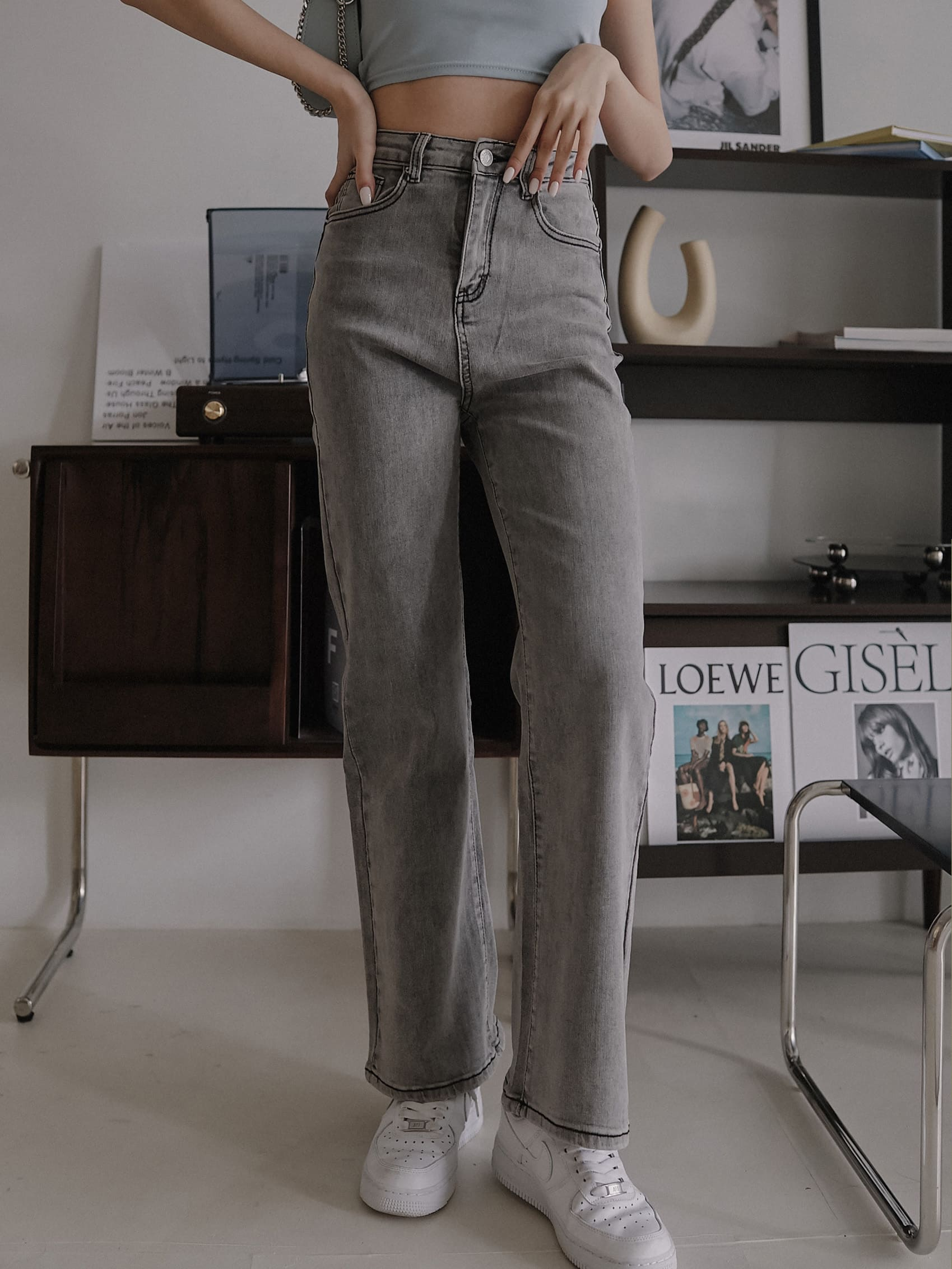 個性牛仔寬褲